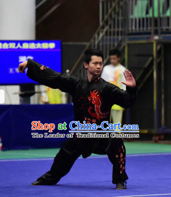 Black Tai Chi Martial Arts Supplies Wing Chun Dummy Chi Gong Qi Gong Kung Fu Kungfu Uniform Clothing Costume Suits Uniforms for Men and Boys