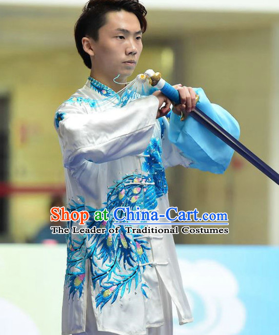 Blue White Dragon Tai Chi Swords Taiji Tai Ji Sword Martial Arts Supplies Chi Gong Qi Gong Kung Fu Kungfu Uniform Clothing Costume Suits Uniforms for Men and Boys