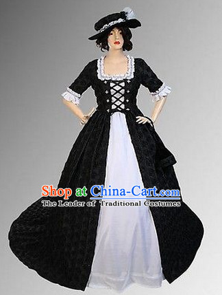 Ancient Renaissance Costume Victoria Style Dresses Complete Set for Women Girls Adults Kids