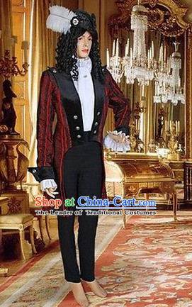 Ancient Baroque Period Clothing Suit Historic Costume Swallow-tailed Coat Complete Set for Men