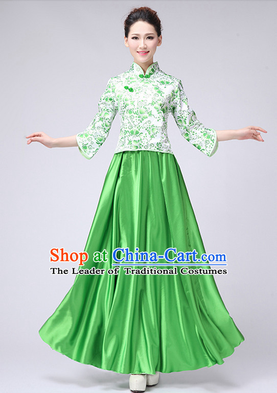 Chinese New Year Musician Uniform Singing Choir Outfits Dancing Costume Stage Opening Dance Costume Parade Dancewear Complete Set