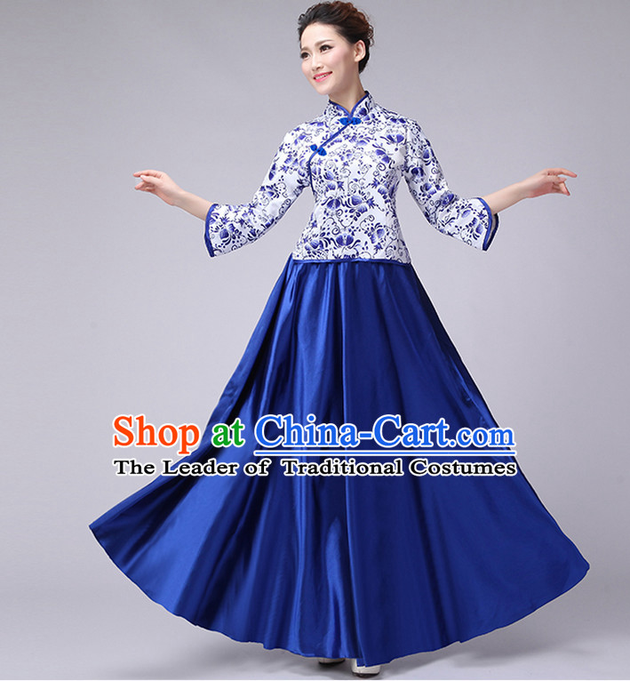 Blue Chinese Minguo Style Musician Uniform Singing Choir Outfits Dancing Costume Stage Opening Dance Costume Parade Dancewear Complete Set