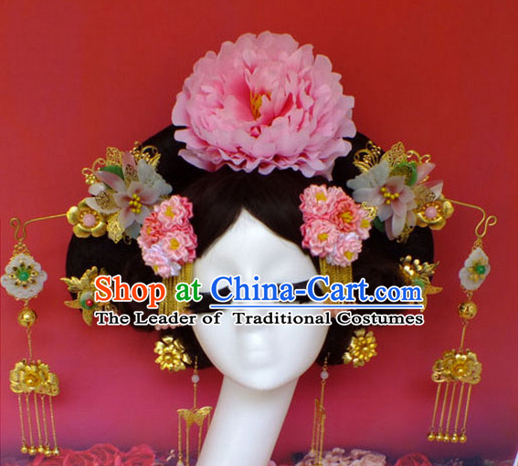 Chinese Empress Princess Queen Black Wigs and Hair Accessories Hair Jewelry Fascinators Headbands Hair Clips Bands Bridal Comb Pieces Barrettes