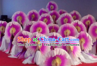 Light Purple Flower Shape Traditional Handmade Pure Silk Dancing Fan