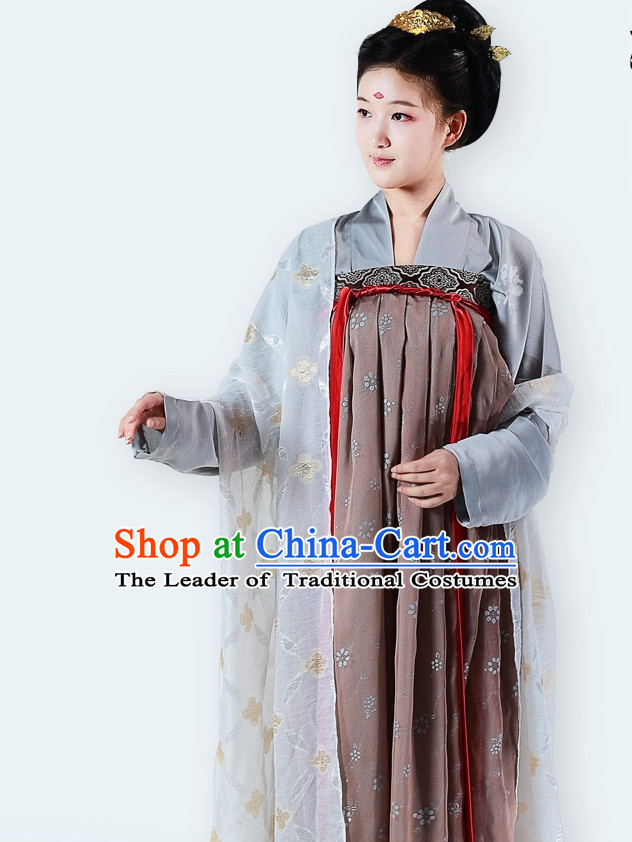 Chinese Classic Tang Dynasty Clothing and Hair Accessories Complete Set for Women