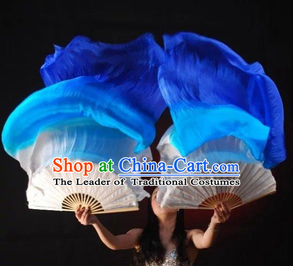 1.5 Meters Pure Silk Long Color Change Chinese Dance Belly Dance Hand Fans Hand Fan Japanese Wedding Fans Oriental Fan