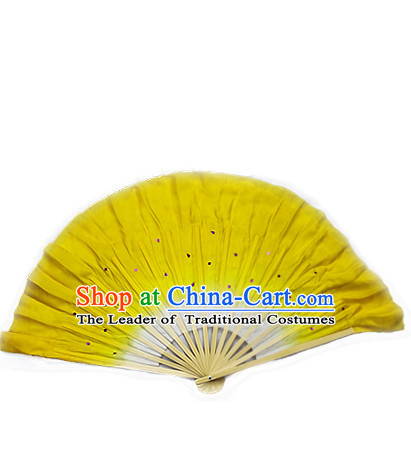 Yellow 16 Inches Pure Silk Color Change Chinese Dance Belly Dance Hand Fans Hand Fan Japanese Wedding Fans Oriental Fan