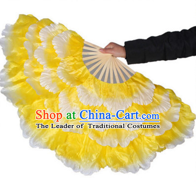 Traditional Yellow Peony Flower Dance Hands Fan Hand Fan Stage Performance Parade Korean Japanese Chinese Fan