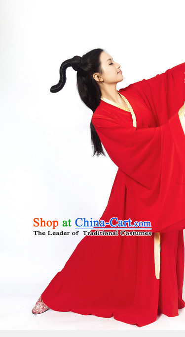 Red Chinese Classical Han Dynasty Clothing Complete Set for Women