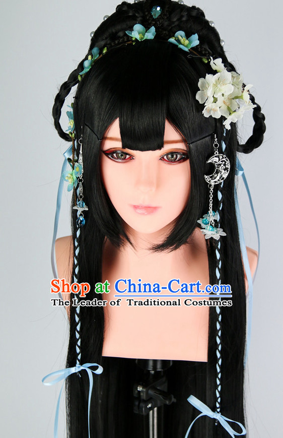 Ancient Chinese Princess Wigs Toupee Wigs Human Hair Wigs Haircuts for Women Hair Extensions Sisters Weave Cosplay Wigs Lace Hair Pieces and Accessories for Women