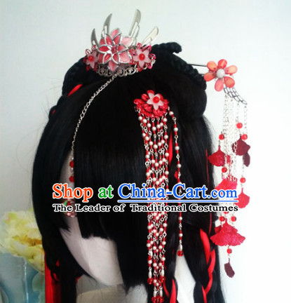 Ancient Chinese Princess Wigs Toupee Wigs Human Hair Wigs Hair Extensions Sisters Weave Cosplay Wigs Lace Hair Pieces and Accessories for Women