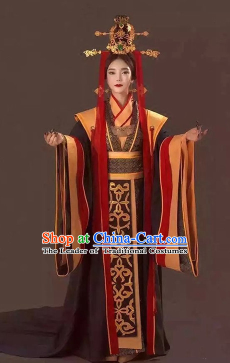 Chinese Ancient Imperial Empress Costumes and Hair Accessories Complete Set