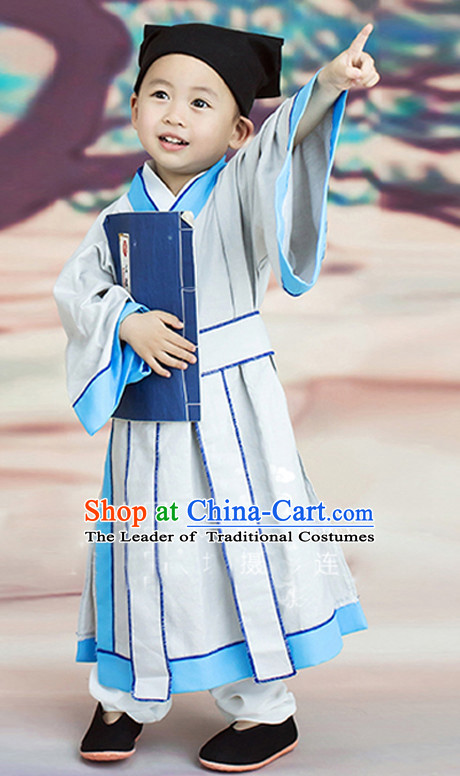 Chinese Ancient Student Costumes and Hat Complete Set for Kids
