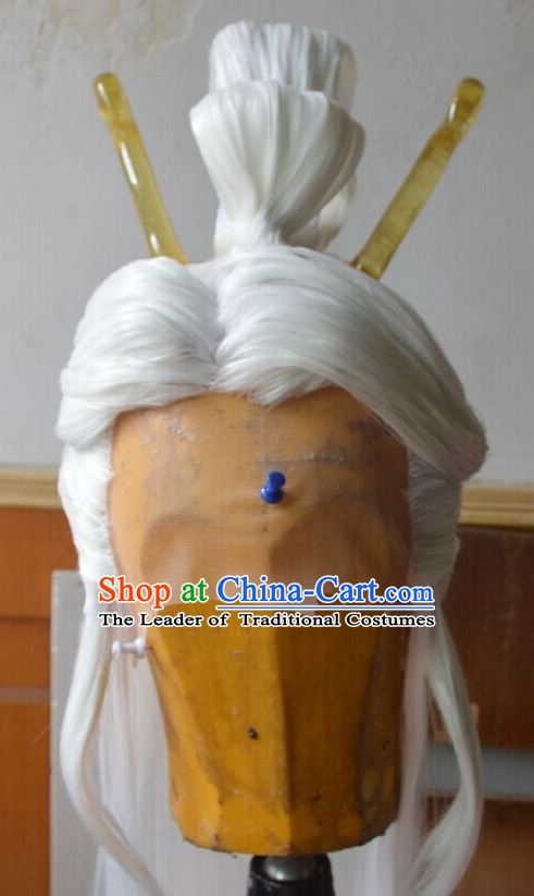 Ancient Chinese Long Wigs Cosplay Wig Performance Hair Extensions Real Wigs Toupee Full Lace Front Weave Pieces and Accessories for Men