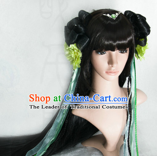 Ancient Chinese Japanese Korean Asian Princess Fairy Long Wigs Cosplay Wig Hair Extensions Toupee Full Lace Front Weave Pieces for Women