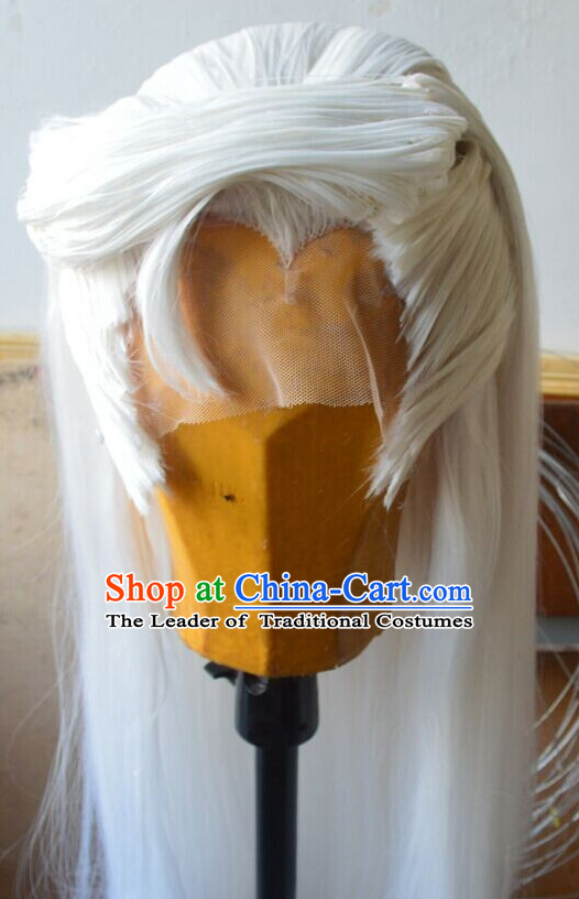 Ancient Chinese Japanese Korean Asian Prince Long Wigs Cosplay Wig Hair Extensions Toupee Full Lace Front Weave Pieces for Men