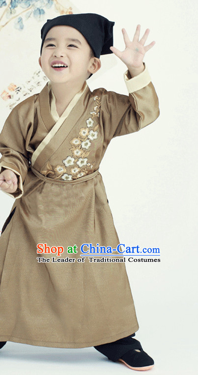 Ancient Chinese Han Dynasty Robe and Hat for Kids