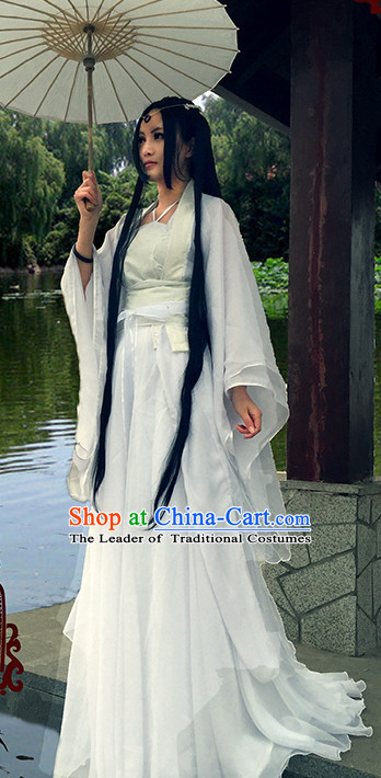 Traditional Chinese Pure White Dress Costume and Headwear Complete Set for Women or Men