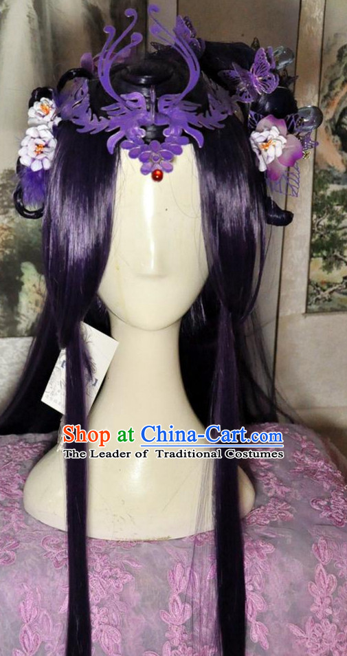 Chinese Empress Queen Princess Long Wig Hair Extensions Real Wigs Toupee Full Lace Front Wigs Weave Pieces and Hair Jewelry for Women