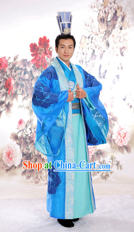 Chinese Traditional Bridegroom Clothing and Hat Complete Set