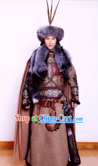 Ancient Chinese National Minority Mongolian Khan Costumes and Hat Complete Set
