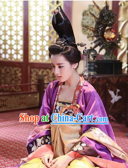 Ancient Chinese Tang Dynasty Princess Clothes and Hair Jewelry Complete Set