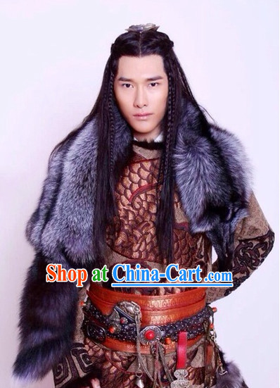 Ancient Chinese Ethnic Prince Long Wig for Men