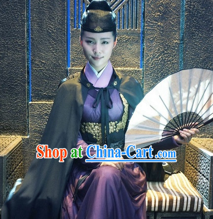 Ancient Chinese Swordman Clothing and Mantle and Hat Complete Set