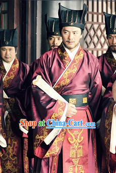 Ancient Chinese Public Officier Costumes and Hat for Men