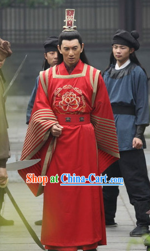Ancient Red Chinese Wedding Bridal Bridegroom Clothing and Helmet Complete Set for Men