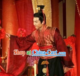 Red Chinese Wedding Bridegrooms Clothing Complete Set