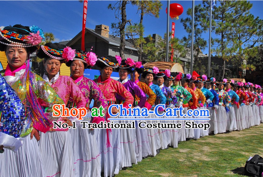 Chinese Traditional Asian Yi Minority Clothes for Women