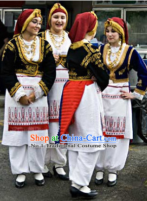 Traditional Greek Clothing and Headwear Complete Set for Women