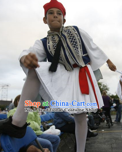 Traditional Greek Children Dress National Clothing and Hat Complete Set for Children