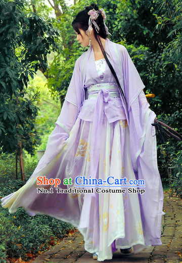 China Purple Fairy Wide Sleeves Classical Dance Costumes Complete Set