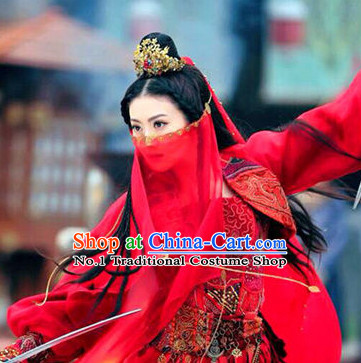 China Ancient Mysterious Swordswomen Costumes and Accessories Complete Set