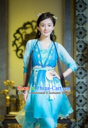 Chinese Blue Swordswoman Costumes