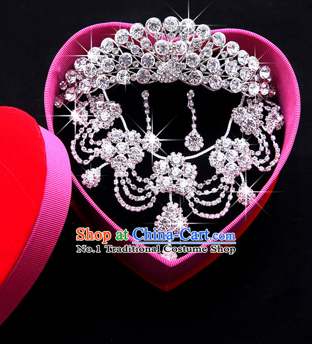 Romantic Wedding Necklace Earrings and Crown Bridal Accessories Set