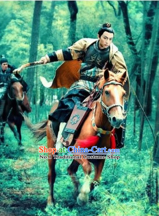 China Ancient Horseman Costumes and Cape Complete Set
