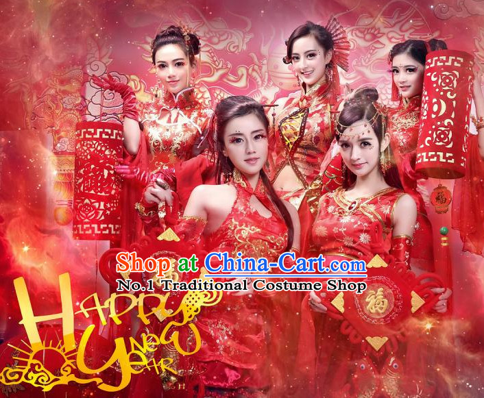 Happy New Year China Red Beauty Fairy Costumes Full Set