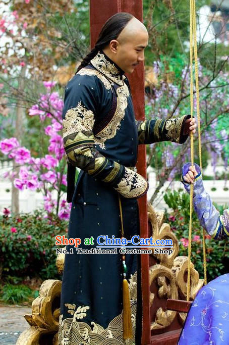 Qing Dynasty Long Dragon Robe and Hat Complete Set