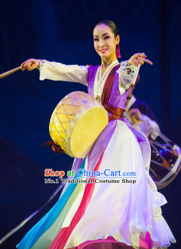 Korean Traditional Folk Drum Dancing Costumes for Women