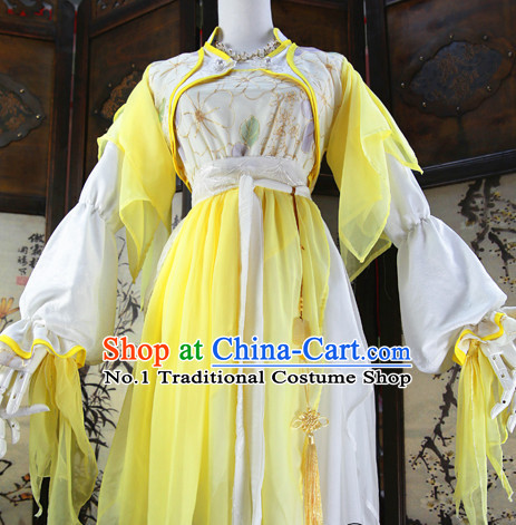 Beautiful Chinese Women Yellow Fairy Costumes