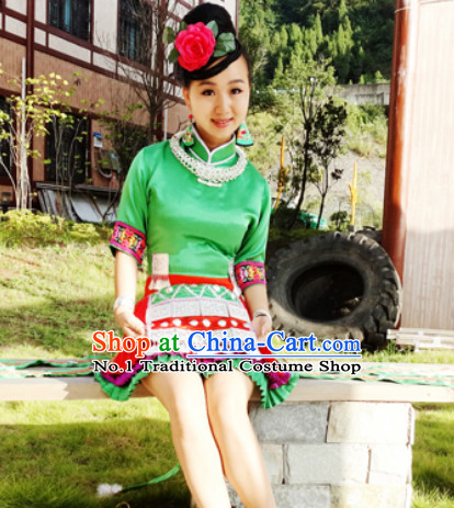 China Hmong Miao Ethnic Clothes and Silver Hat for Girls