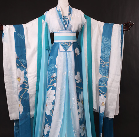 Chinese Traditional Blue White Hanfu Wide Sleeves Suit