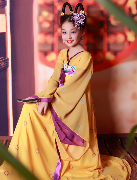 Chinese Empress Costumes and Hair Accessories for Girls Halloween Asian Fashion Ancient China Hanfu