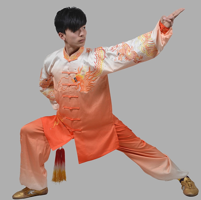 Big Dragon Embroidery Color Transition Martial Arts Competition online Clothing Complete Set