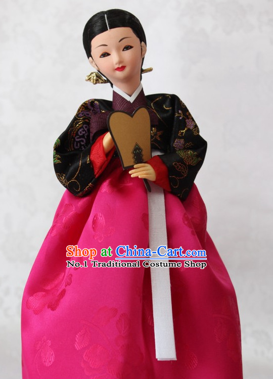 Korean Traditional Handmade Hanbok Silk Figurines