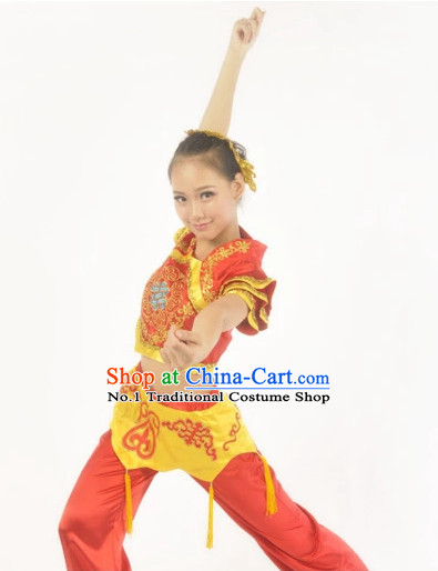 Custom Made Asian Kids Fan Dance Costume Complete Set