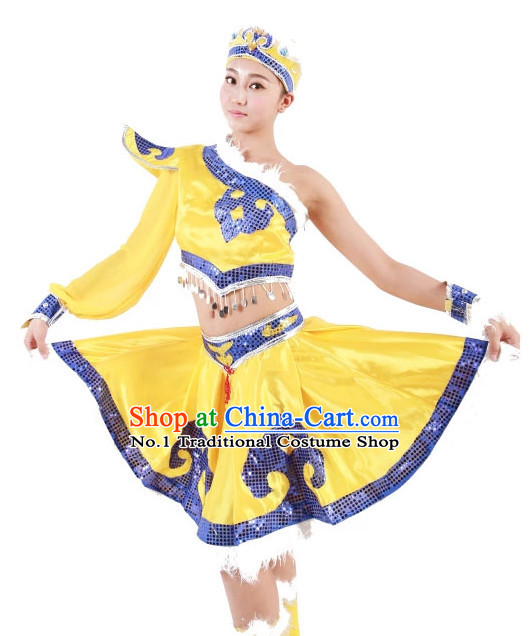 Custom Made Chinese Mongolian Minority Group Dance Costumes for Women